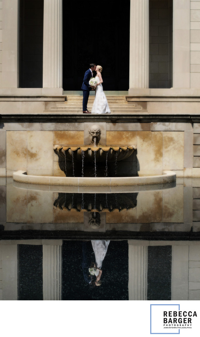 Bridal couple  reflects the architecture of The Rodin Museum.