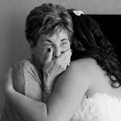 Grandma's tears as she first sees her granddaughter on her wedding day.