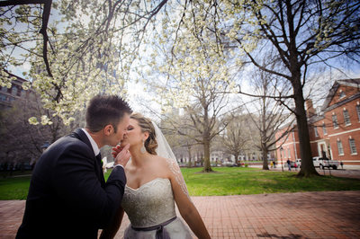 Springtime kiss in Philadelphia's Finley Catering's Union Trust.