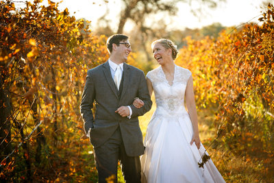 Happy Together in the Autumn Leaves in the Vineyard.