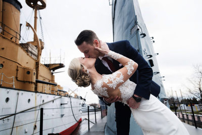 A little kissin' on top of a submarine at Penn's Landing, Phila.