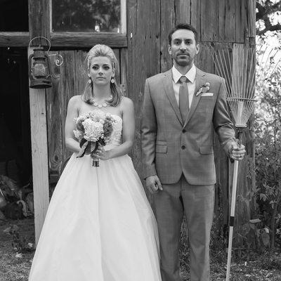 American Gothic wedding photo in austin