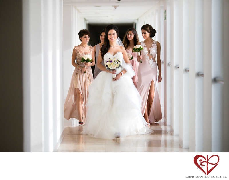 Bride and bridesmaids at Le Blanc Resort Cancun