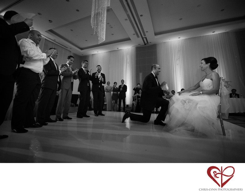 Garter Toss at Cancun Wedding Reception, Le Blanc Resort