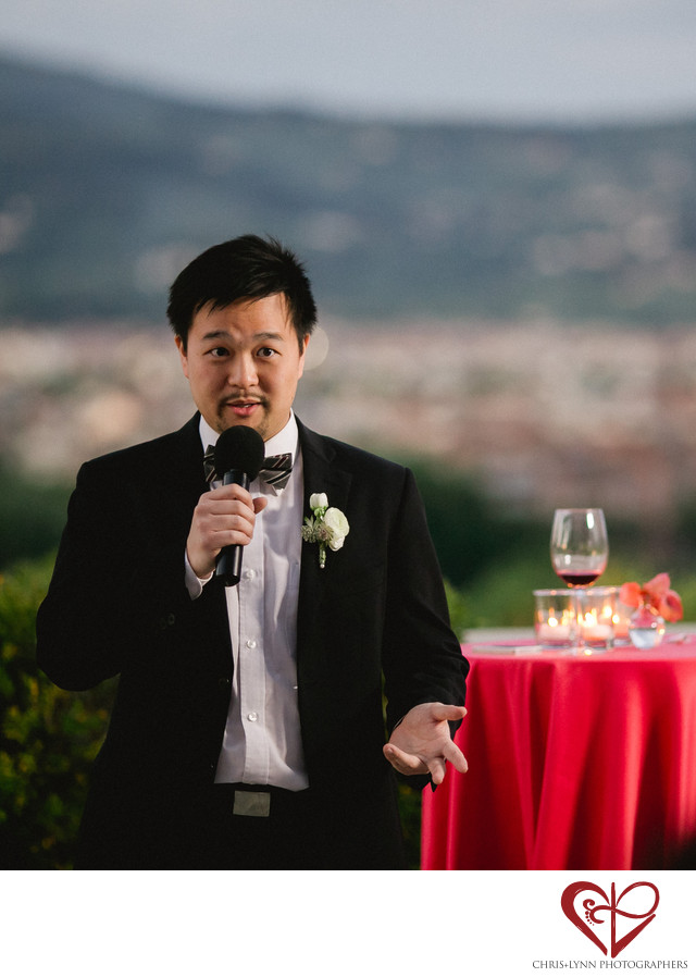 Villa La Vedetta Wedding reception, groomsmen speech