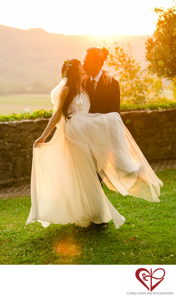Sunset Vineyard Wedding Photos in Slovenia