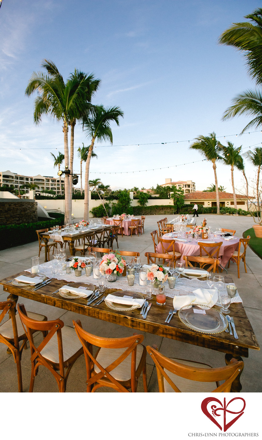 Club Campestre Beach Wedding Reception, Tablescapes