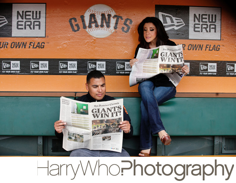SF Giants Ballpark Engagement Session Photo