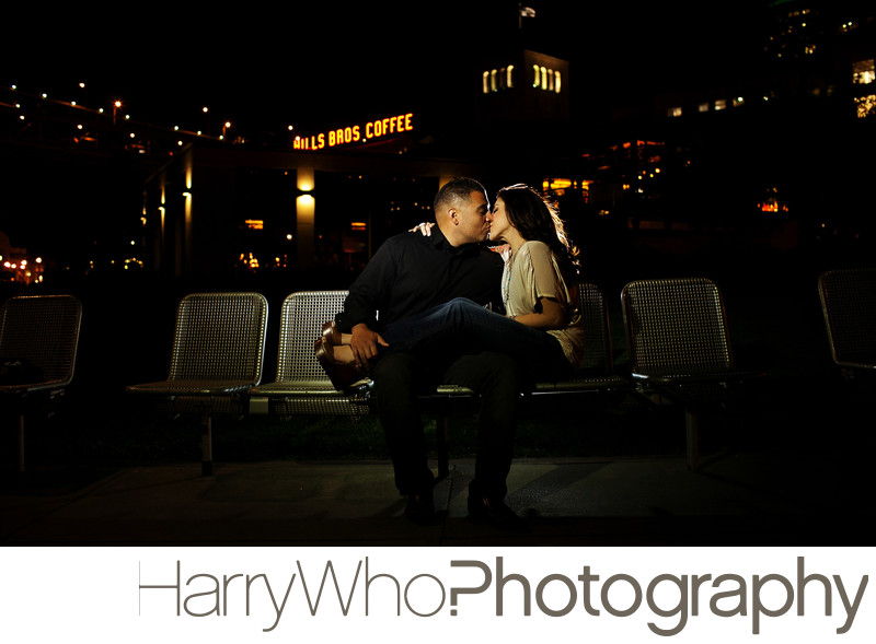 A SF nightime engagement session photo