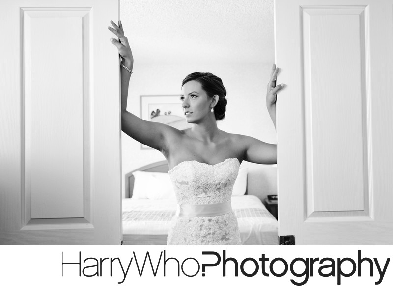 A beautiful door pose of a bride on her Wedding Day.