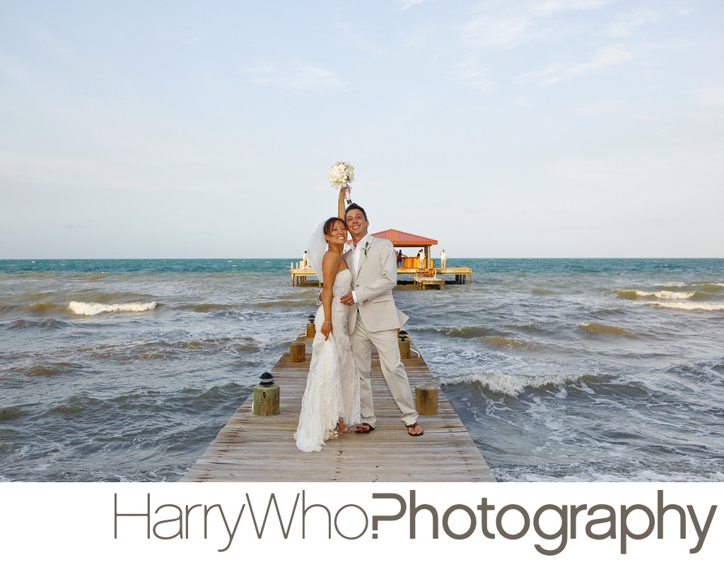 A married couple posed after their Wedding in Belize
