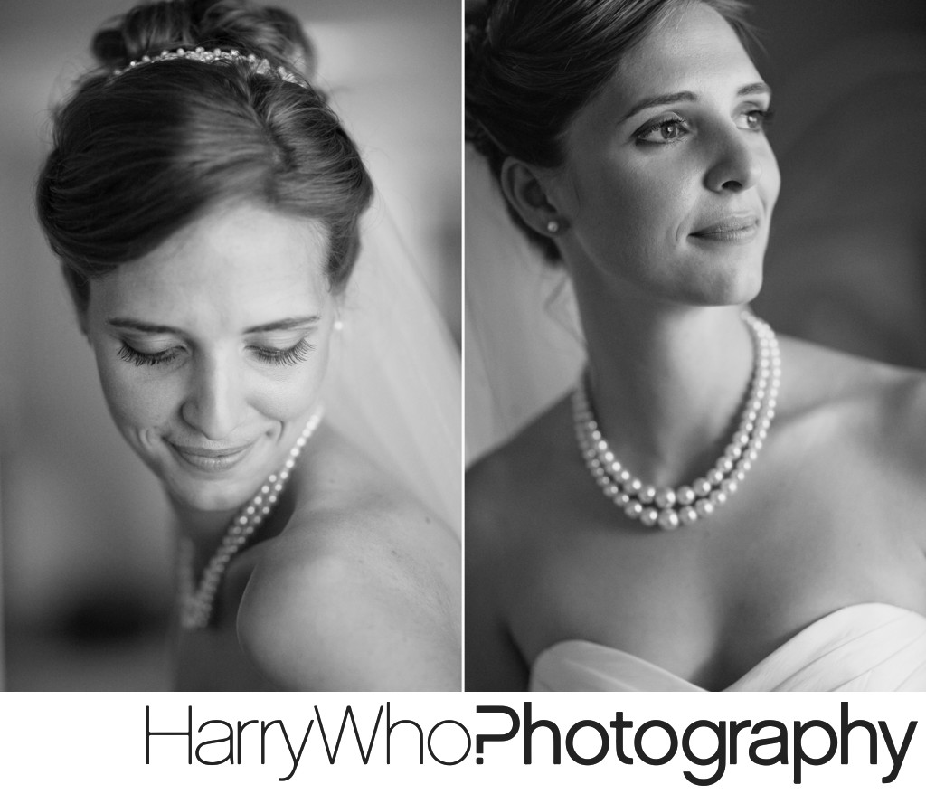 Beautiful Black and White close up images of a bride on her Wedding Day in Santa Cruz