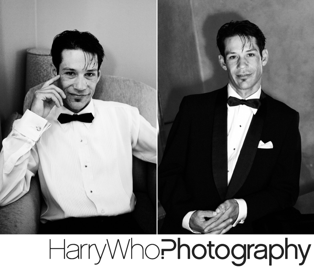2 images of a groom at his Hotel De Anza's Wedding