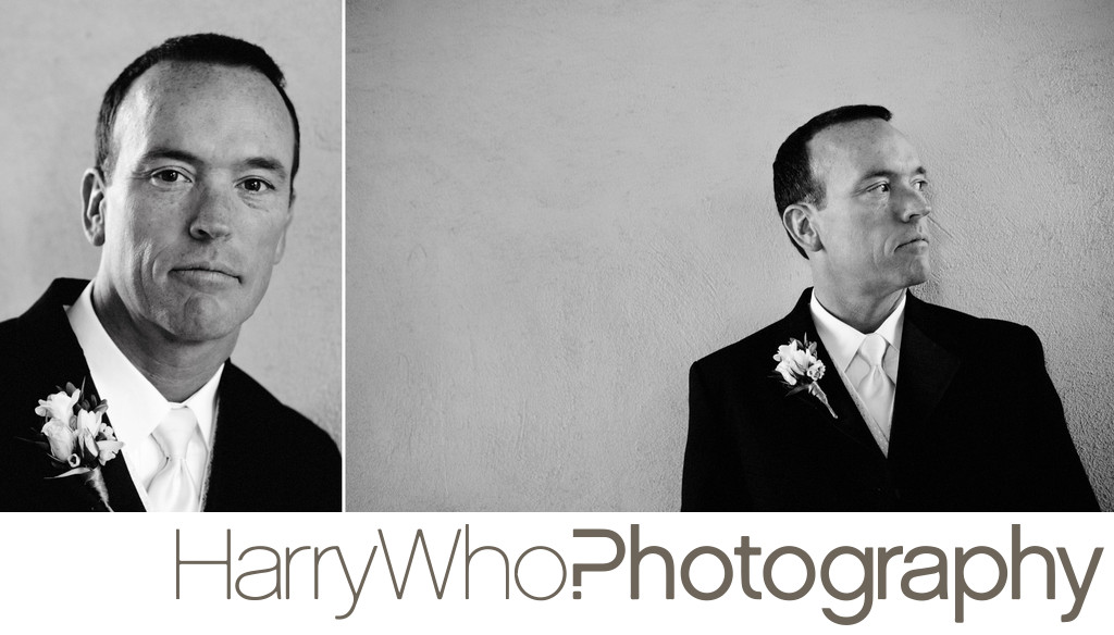 A great collage of balck and white photos of a groom on his Wedding Day in Santa Cruz