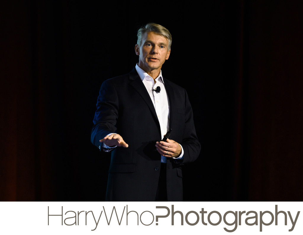 A stunning image of a corporate event speaker at the Forager in San Jose
