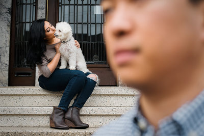 Cute Engagement Photo with Dog