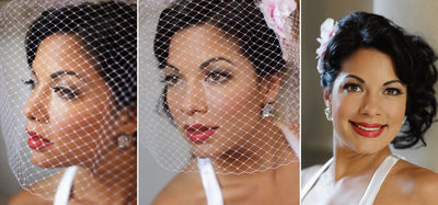 Beautiful image of a bride wearing fascinator at San Francisco City Hall Elopment