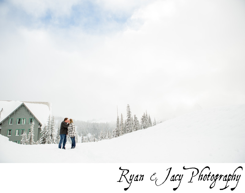 Engagement Photograph Snow Seattle
