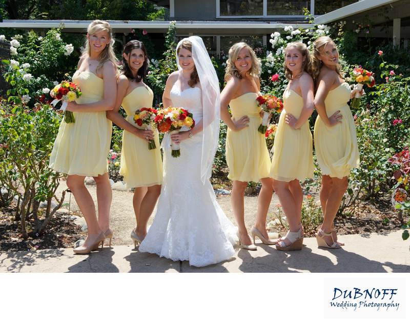 bridesmaids in rose garden