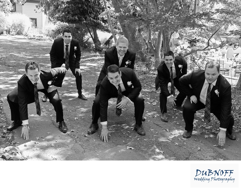 Football Groomsman at this Marin County Wedding