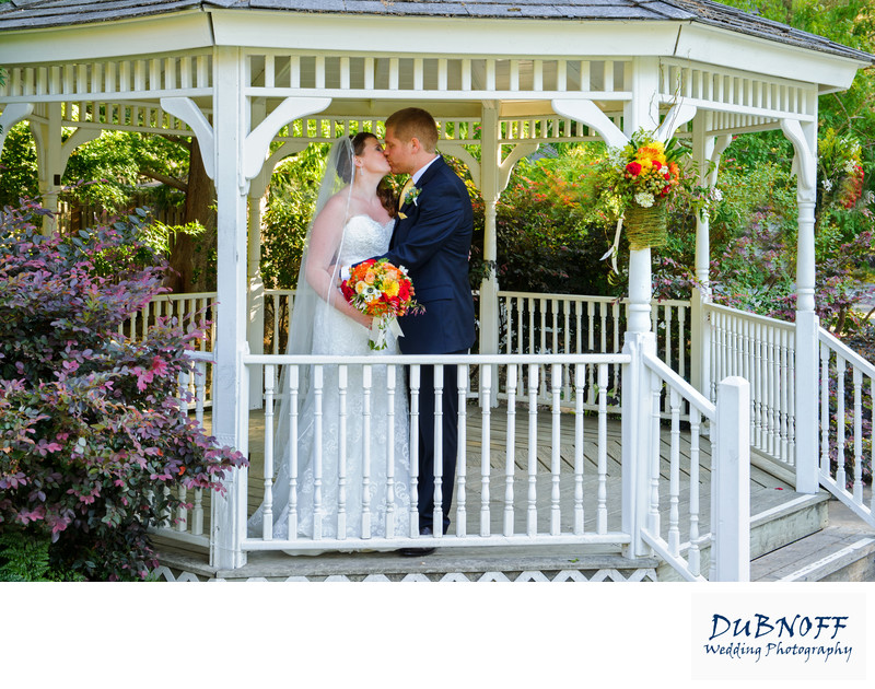 Wedding Photography Image of Marin  Bride and Groom in Gazebo