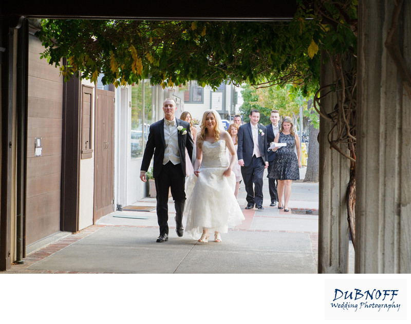 bridal party walking through Benicia in the Bay Area