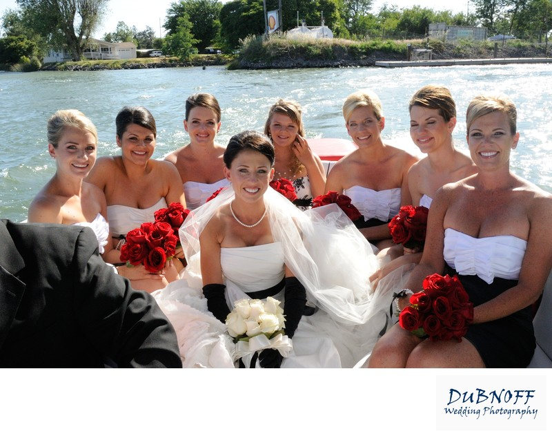 bridesmaids on boat