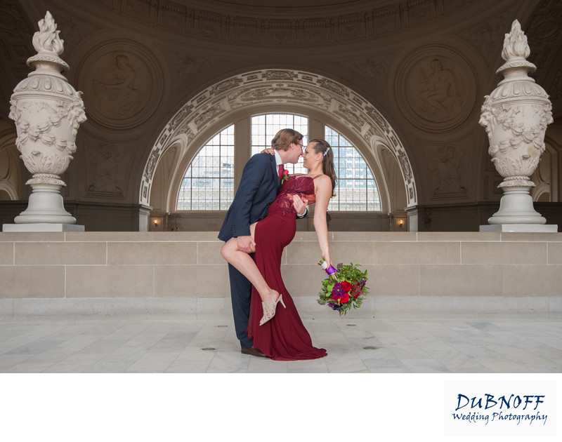 San Francisco City Hall Wedding Photographer - North Gallery Red Dress