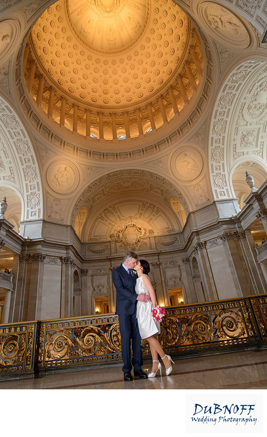 second floor bride and groom at San Francisco city hall