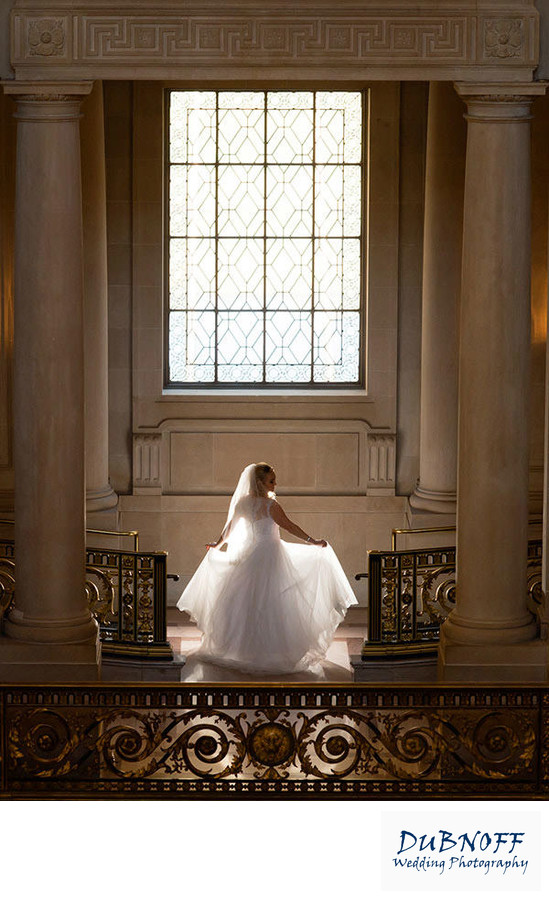 sf city hall wedding photography back lit bride