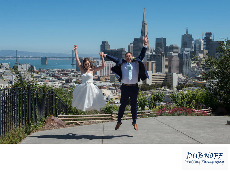 jumping russian hill san francisco wedding photography