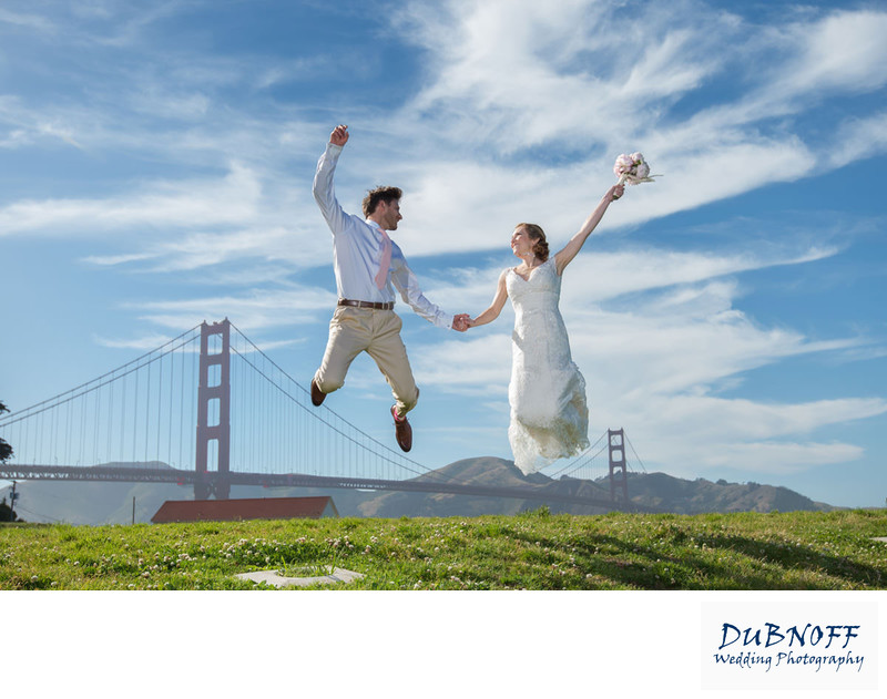 wedding jump at the golden gate bridge - Crissy Field