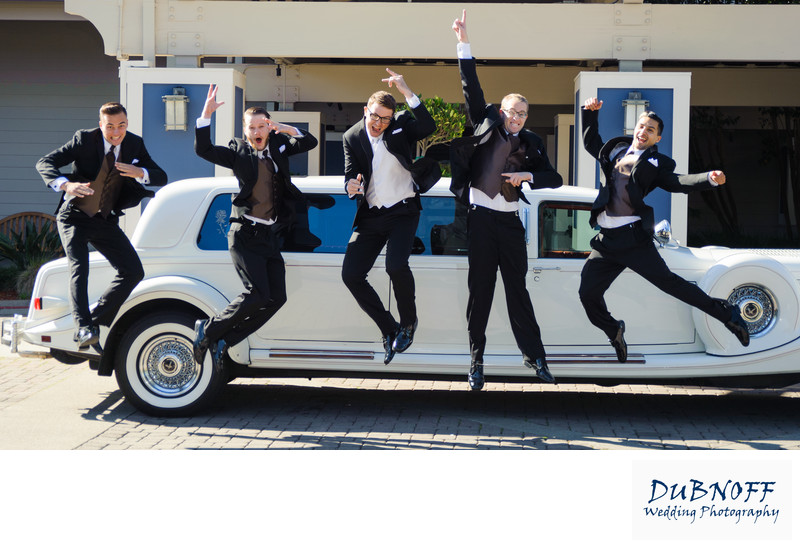 guys jumping limo