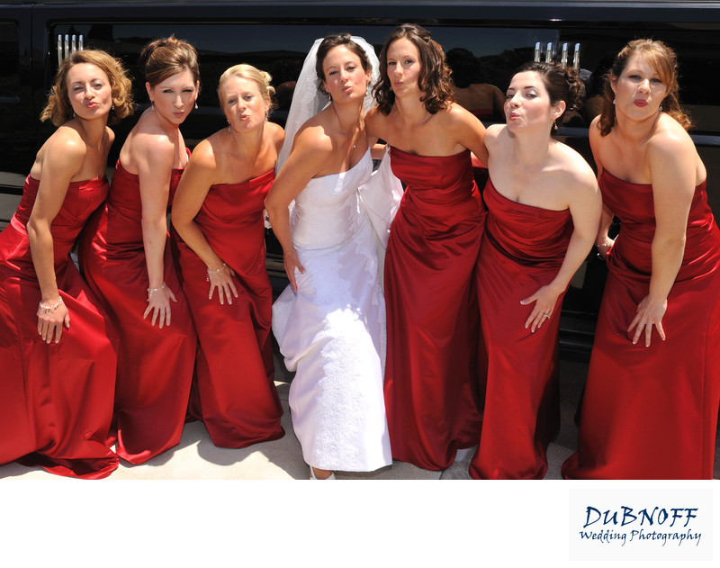 Walnut Creek Bride Posing with her Attendants in Red Dresses