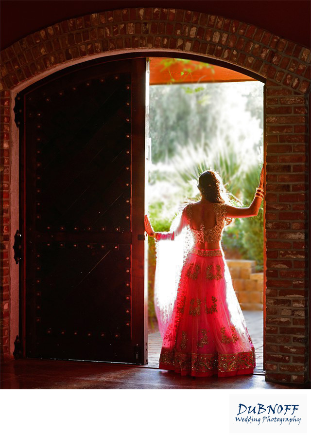 Indian Bride Posing in a Wine Cellar Door in Livermore