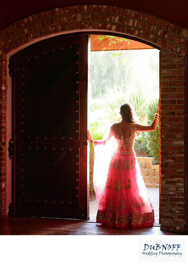 Livermore Bride Posing in the Winery Cellar Doorway