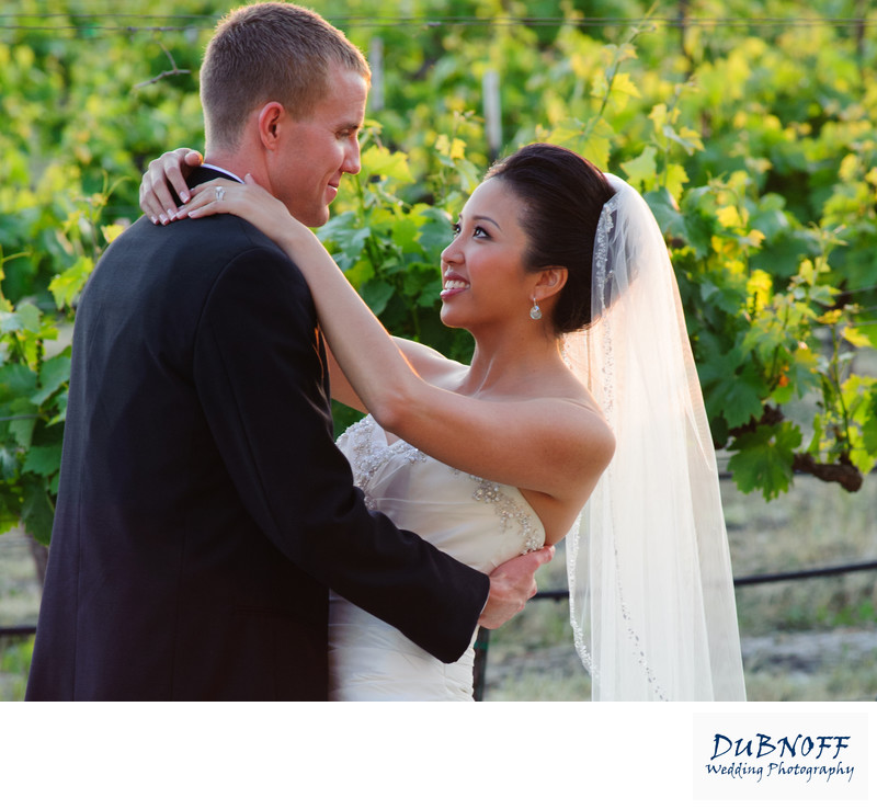 bride and groom in the vineyard at Casa Real in Livermore Valley