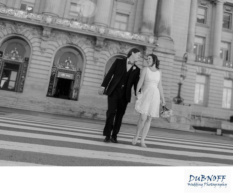Married Couple Walking Away From City Hall in San Francisco