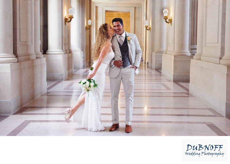 Wedding Photography Image of a City Hall Kiss on the Cheek