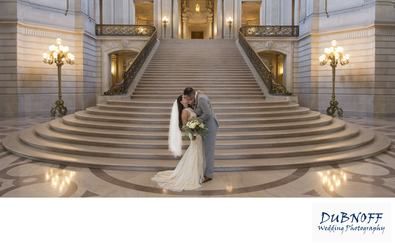 San Francisco City Hall Wedding Photographer - Grand Staircase