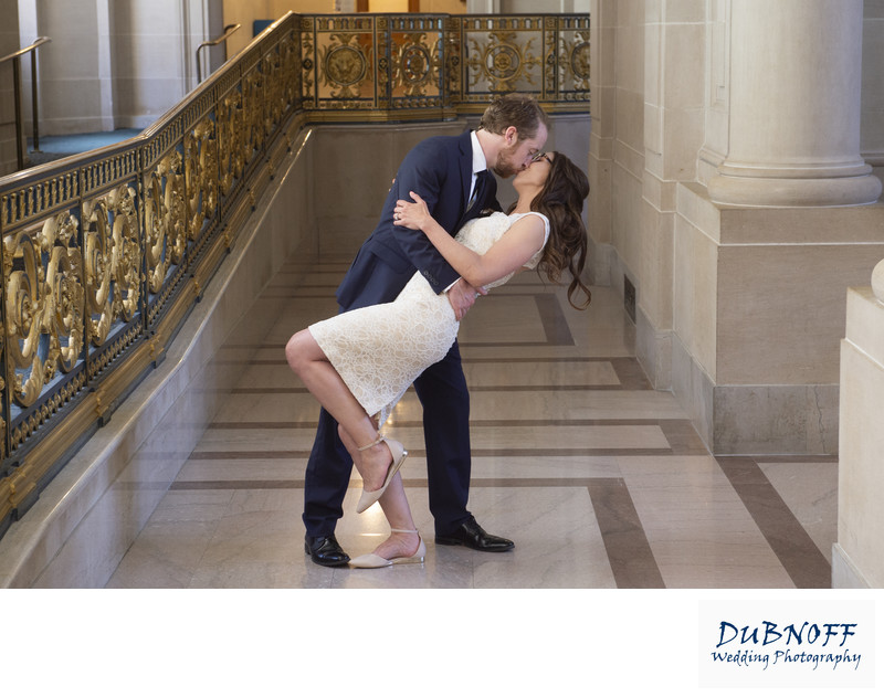 Bride and Groom Kissing at San Francisco City Hall Wedding