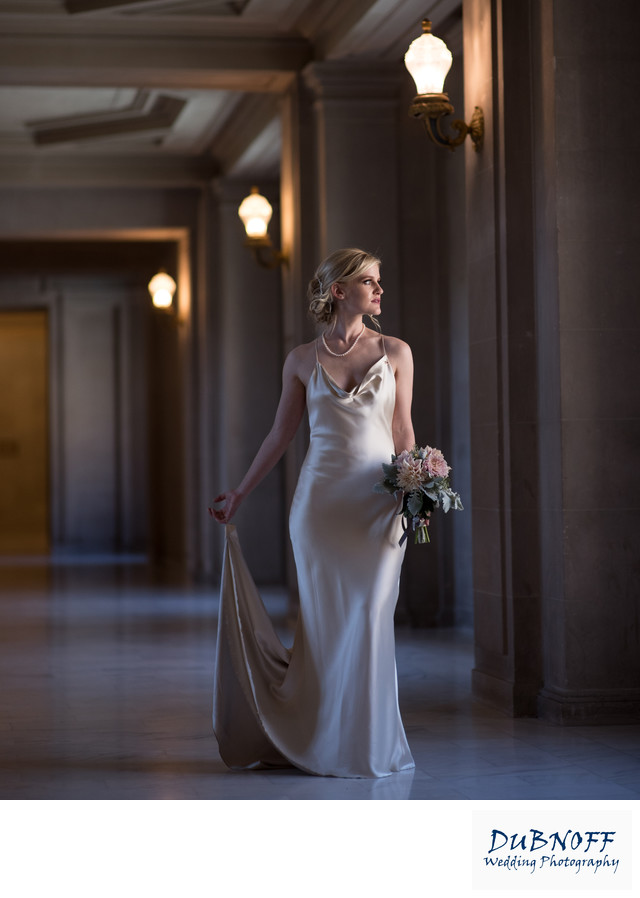 San Francisco City Hall Wedding Photographers - Dramatic Bride