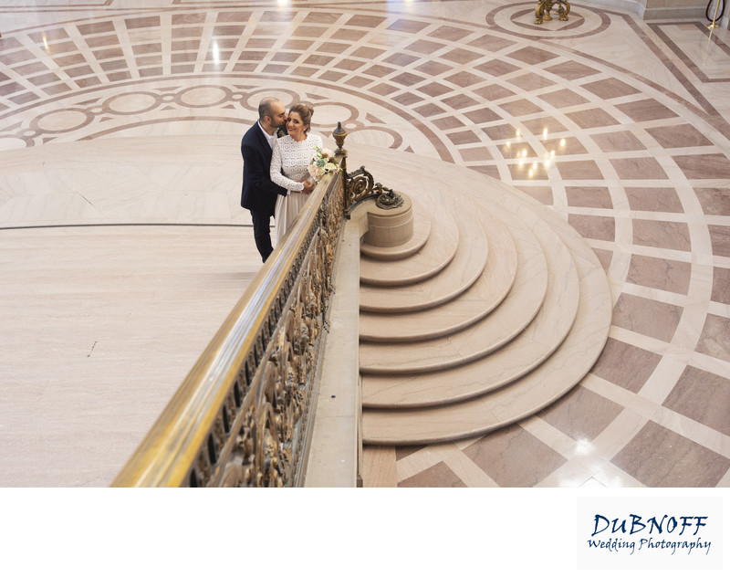San Francisco City Hall Wedding Photographers - Gold Railing