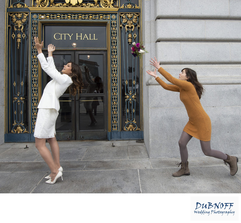 San Francisco City Hall Wedding Photographers - Bouquet Toss