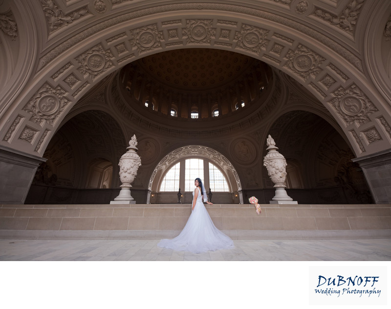 Wide Angle Wedding Photography with Asian SF Bride