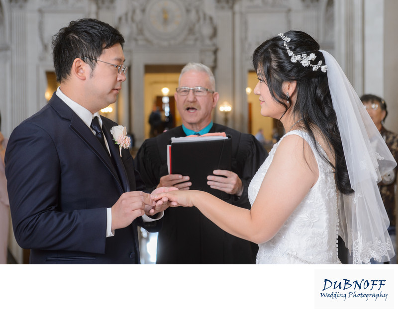 City Hall Ring Exchange during a San Francisco Wedding Ceremony