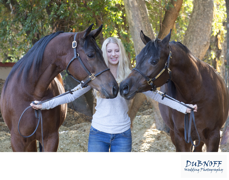 Fun Portrait image of 2 horses Kissing with Owner watching
