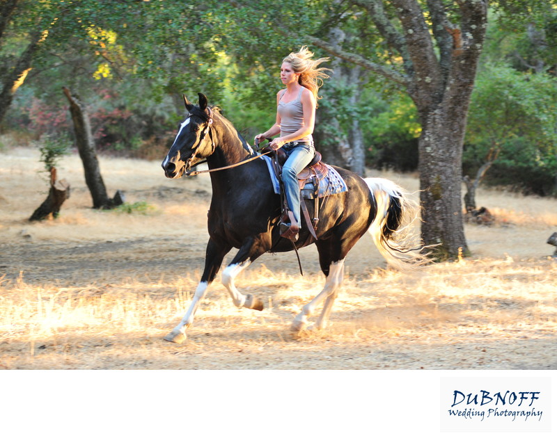 San Francisco Bay Area Equestrian riding through the woods