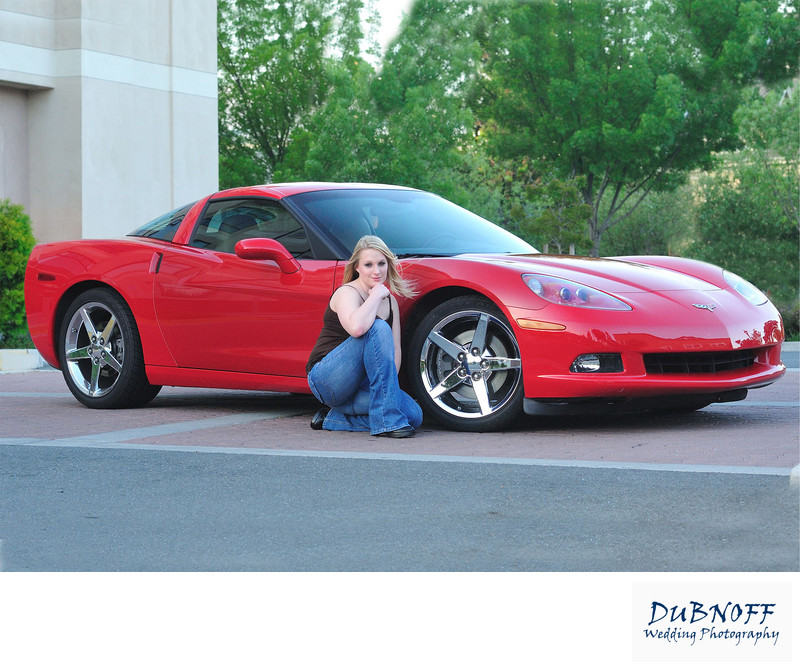 Senior Portrait Photography Session with a Red Corvette