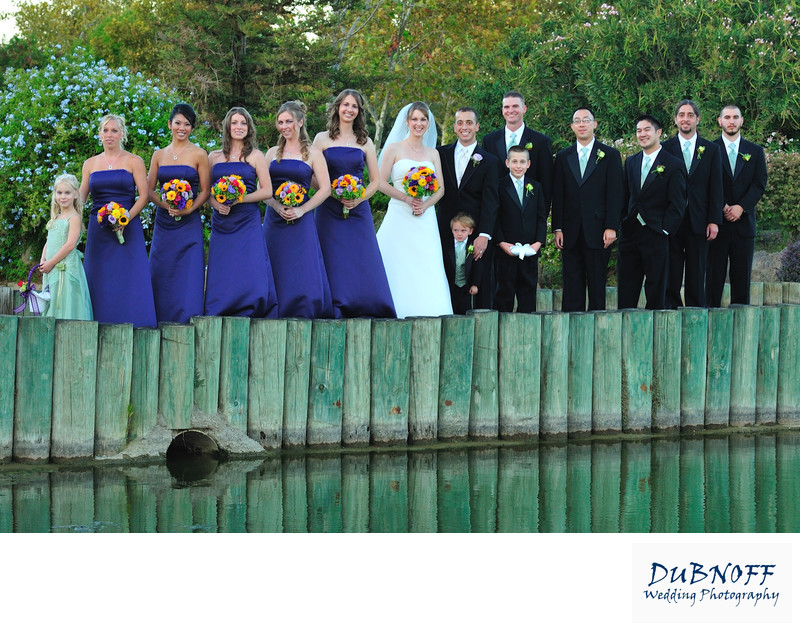 Wedding Party  on the bridge at the Brentwood Golf Club